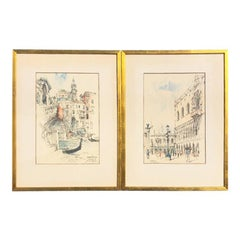 Water Color Prints of Venezia a Pair with Gilt Frames Signed Jan Korthals
