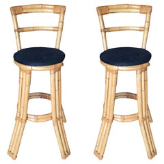 Restored Three Strand Rattan Bar Stool with Pole Rattan Back, Pair