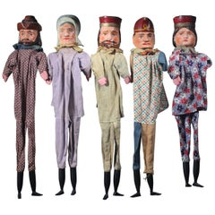 Collection of Early 20th Century German Punch & Judy Puppets Marionettes
