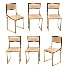 Willy Rizzo Design Set of Six Brass and Leather Dining Chairs, Italy, 1970s