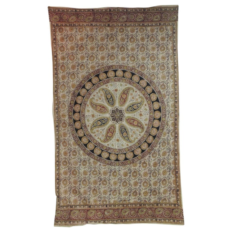 """Vintage """"Kalamkari"""" Hand-Blocked Red and Gold Cloth For Sale"""