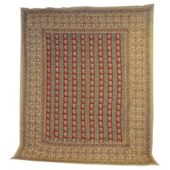 "Vintage Hand-Blocked Red and Brown ""Kalamkari"" Cotton Paisley Coverlet/Cloth"