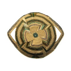 Round Green and Natural Woven Tribal Bowl Basket with Handles and Pattern