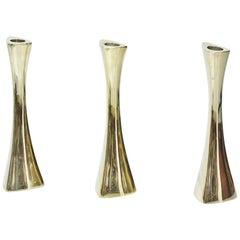Scandinavian Modern Organic Brass Candlesticks by BCA Eskilstuna, Sweden, 1960s
