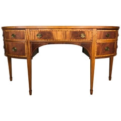 Antique Federal Style 20th Century Demilune Inlaid Mahogany Sideboard