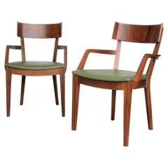 Pair of Drexel Modern Line Pegged Walnut Armchairs