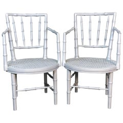 1960s Faux Bamboo Campaign Style White Chairs, Pair