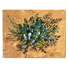 Floral Blue Green Red Bouquet Painting Oil on Canvas Gallery Wall Unframed