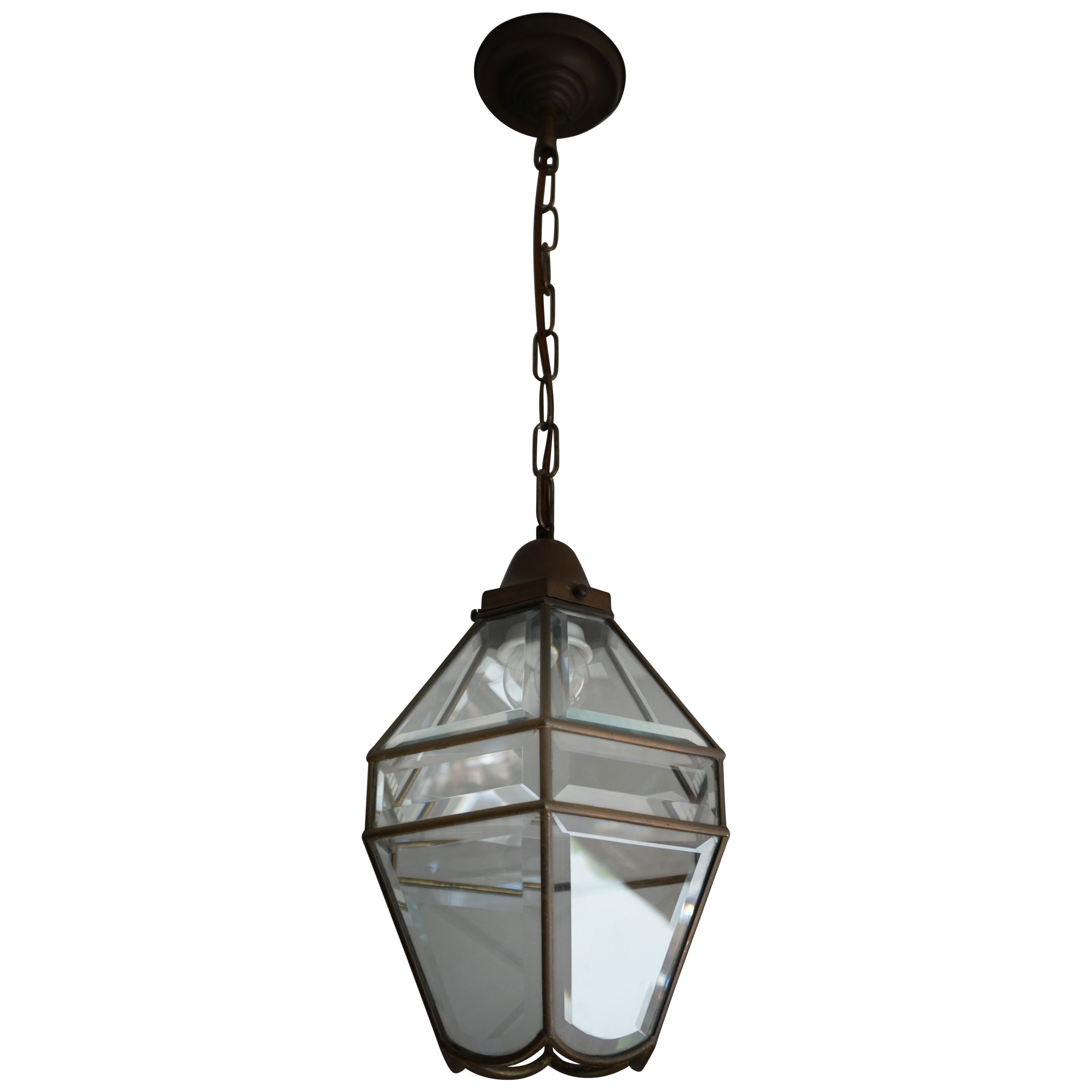 Stylish Arts & Crafts Brass and Beveled Glass Pendant Light in Adolf Loos Style