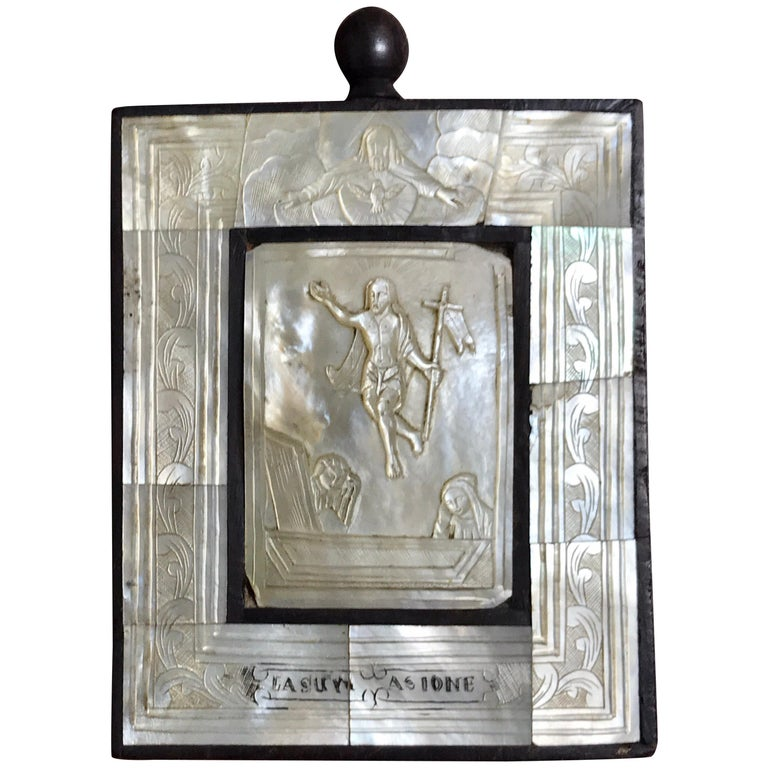 """Antique Mother of Pearl Icon """"Lasur Asione"""" For Sale"""