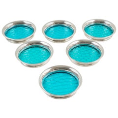 Henry Clifford Davis Barware Sterling Silver & Blue Glass Coaster, Set of Six