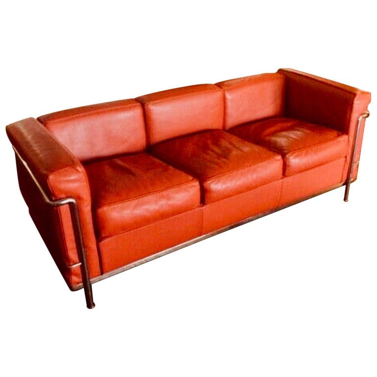 Le Corbusier for Cassina LC2 3-Seat Rosso Leather Sofa, Italy Mid-Century  Modern