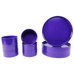 Purple Massimo Vignelli for Heller Dinnerware, Set of Six Plates and Six Bowls