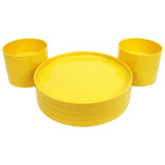 Yellow Massimo Vignelli for Heller Dinnerware, Set of Four Plates and Four Bowls