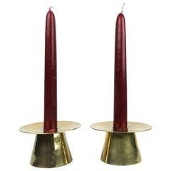 Mid-Century Modern Brass Candleholders