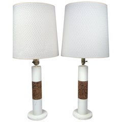 Pair of Vintage White Table Lamps with Cork Accents