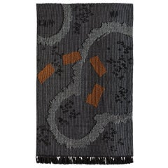 Intricately Woven Nuragic Satellitaria Tapestry by Roberto Sironi in Black