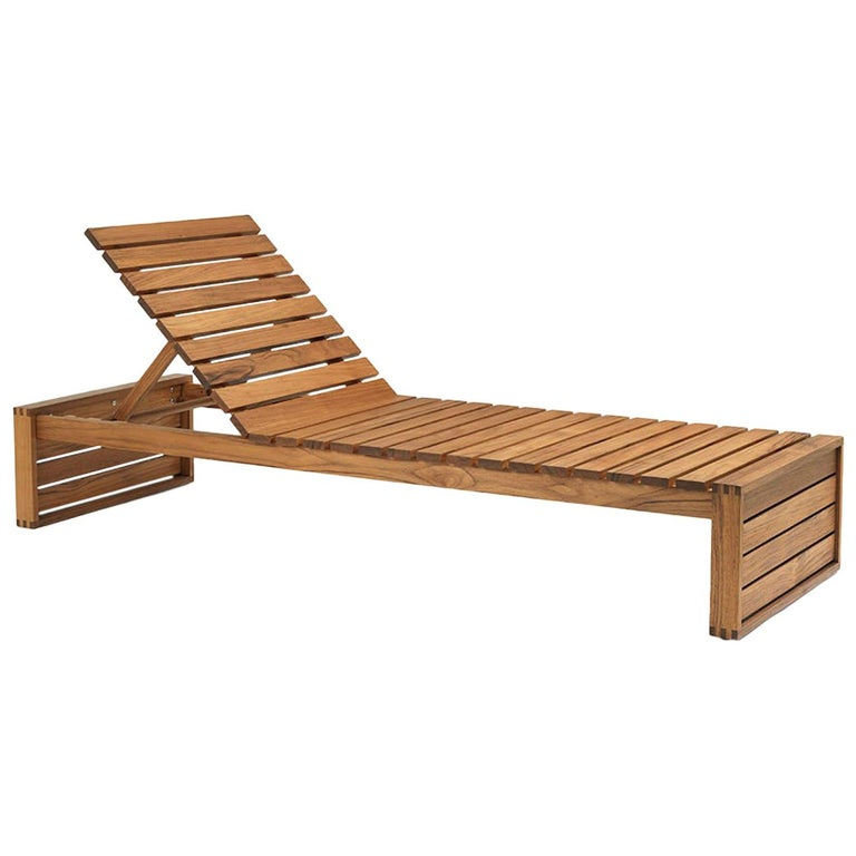 Bk14 Outdoor Sunbed And Bench In Teak With Sunbrella