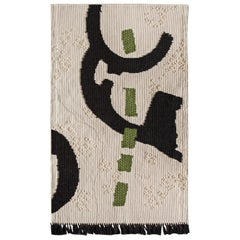 Intricately Woven Nuragic Satellitaria Tapestry by Roberto Sironi in Cream