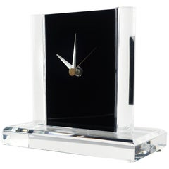 Vintage Clear and Black Lucite Clock