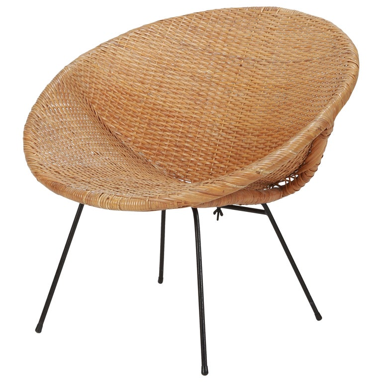 Round Rattan Circle Chair, 1950s For Sale