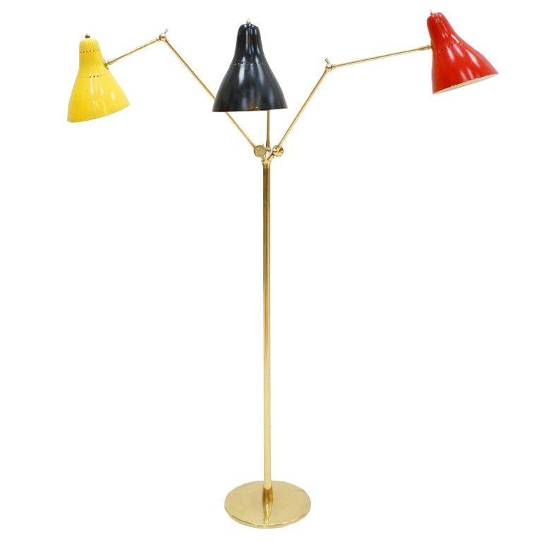 Angelo Lelli Mid-Century Modern Brass Italian Floor Lamp For Sale