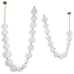 Pair of Pearl Necklace Pendant Lights, Ludovic Clément d'Armont