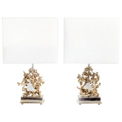 Pair of Signed Claude Victor Boeltz Bronze Lamps, 1970