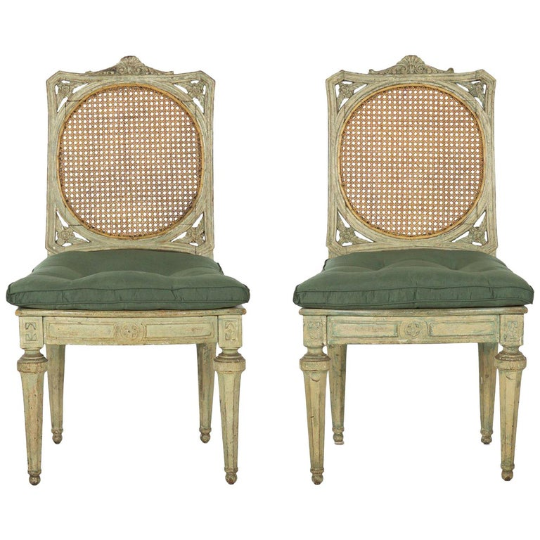 Neoclassical Italian Pair of Polychromed Antique Side Chairs, circa 1790-1810 For Sale