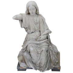 19th Century Italian Sculpture in Plaster Young Girl on a Wooden Base