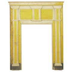 Neoclassical Federal Antique Fireplace Surround Mantel in Yellow and White Paint