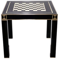 French J.C. Mahey Lacquered and Brass Game Table, 1970s