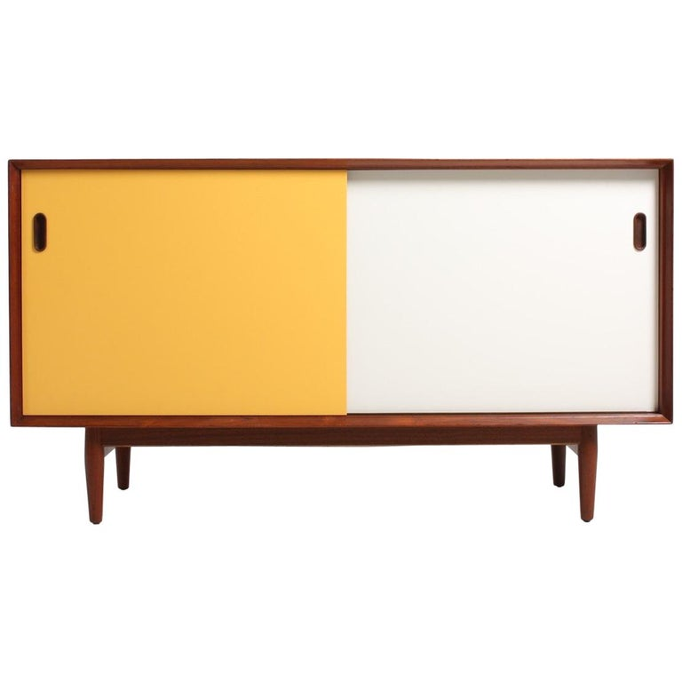 Midcentury Sideboard in Teak with Colored Panels by Arne Vodder