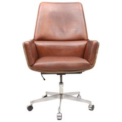 Midcentury Desk Chair in Suede and Leather by Finn Juhl