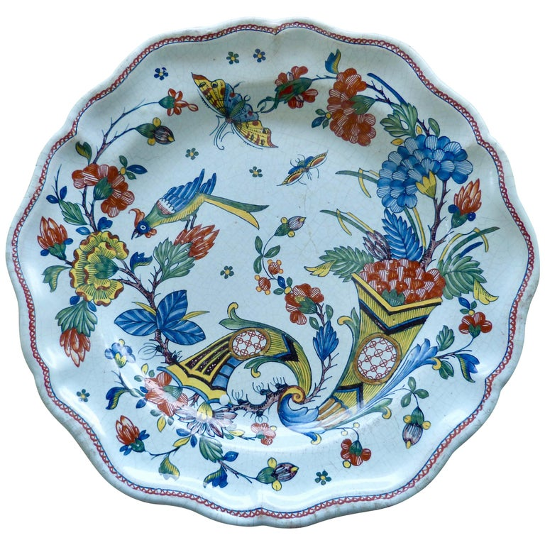 French Rouen Large Faïence Charger, Mid-18th Century For Sale
