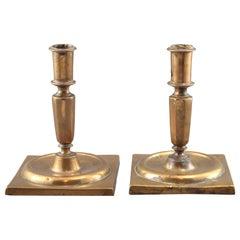 Pair of Bronze Candleholders, Spain, 17th Century