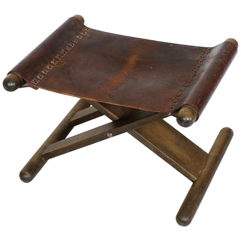 Pleasant Vintage X Base Oak And Saddle Leather Folding Safari Stool Machost Co Dining Chair Design Ideas Machostcouk
