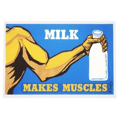 """Vintage """"Milk Makes Muscles"""" Serigraph by N. Sealy"""