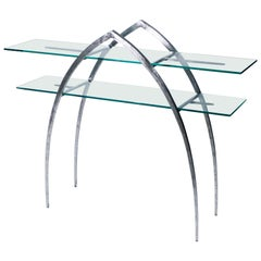 Unique Sylvain Subervie Wrought Iron and Glass Console, circa 2000