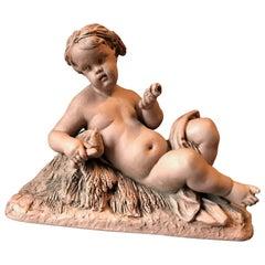 19th Century Terracotta Putto Sculpture, Albert-Ernest Carrier-Belleuse, France