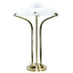 French Art Deco Brass and Frosted Glass Lamp, 1940s