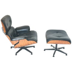 Set of Charles Ray Eames Lounge Chair and Ottoman 670 and 671, Black Leather