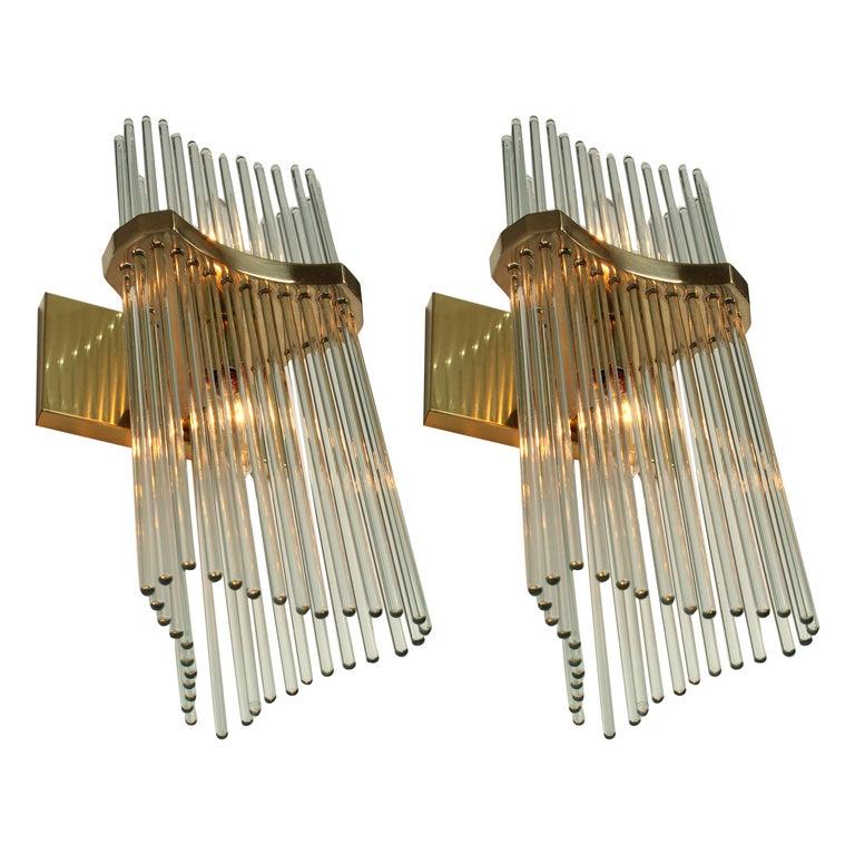 Pair of Sciolari Glass Rod & Brass Wall Sconces Two-Light Bulbs, Italia, 1970 For Sale