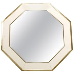 Octagon Shaped J.C. Mahey Mirror in White Lacquer and Brass, 1970s