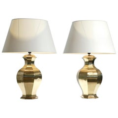 Pair of Large French Brass Table Lamps, 1970s