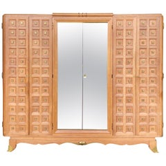 French Art Deco Wardrobe in Solid Oak and Brass, 1940s