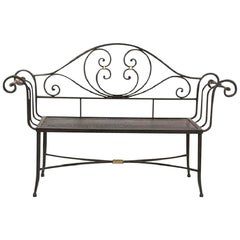 New Black Wrought Iron Bench with Arms and Back