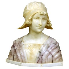 Large Antique Italian Carved Alabaster Joan of Arc Bust After Bessi, circa 1890