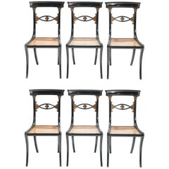Set of Six French Maison Jansen Ebonized Chairs Directoire Style, 1940s