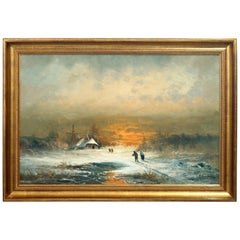 Large Dutch Oil on Canvas Winter Landscape Painting, Signed S. Seekatz '86